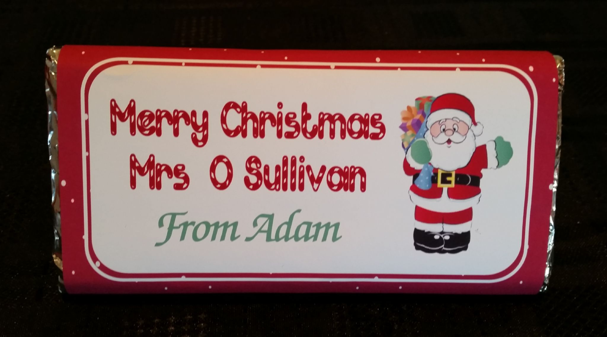 personalised christmas chocolate bar wrapper design 8